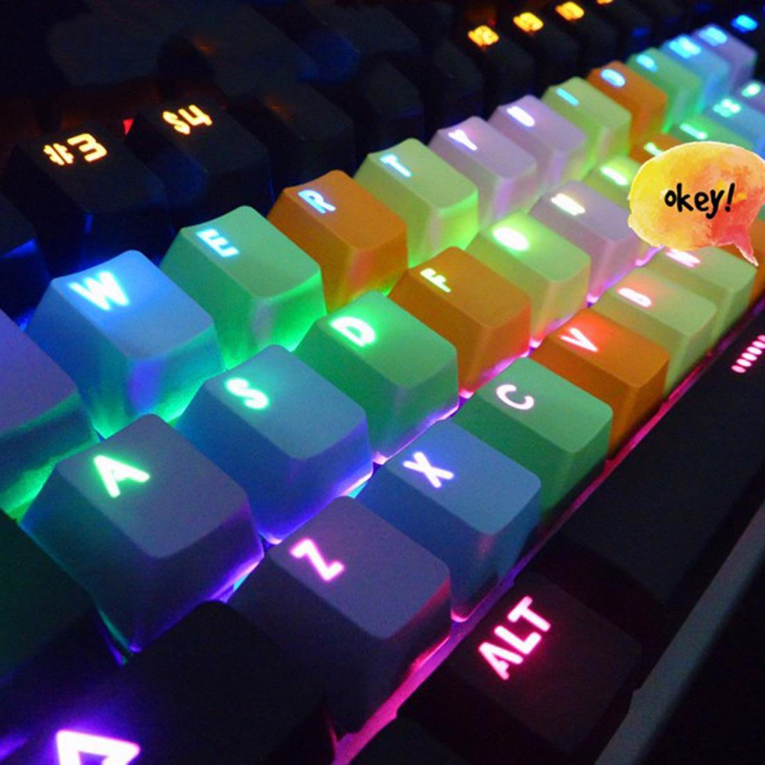 Etmakit Backlight PBT 37keys Double Shot Translucidus Backlight Backlit Rainbow Keycaps for Mechanical Keyboard - intl