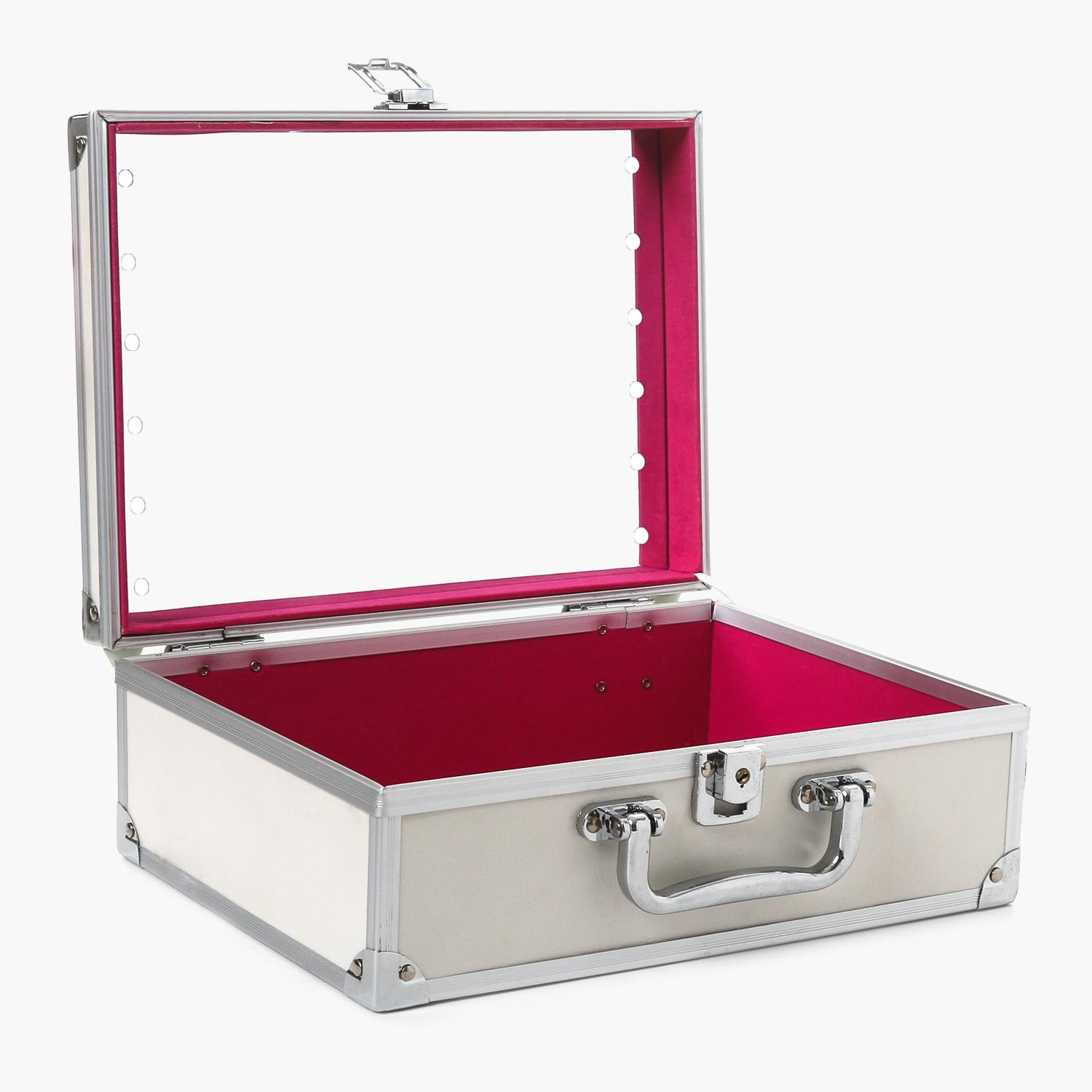 Travel Basic Ladies Cosmetic Case With Mirror And LED Light (White) Philippines