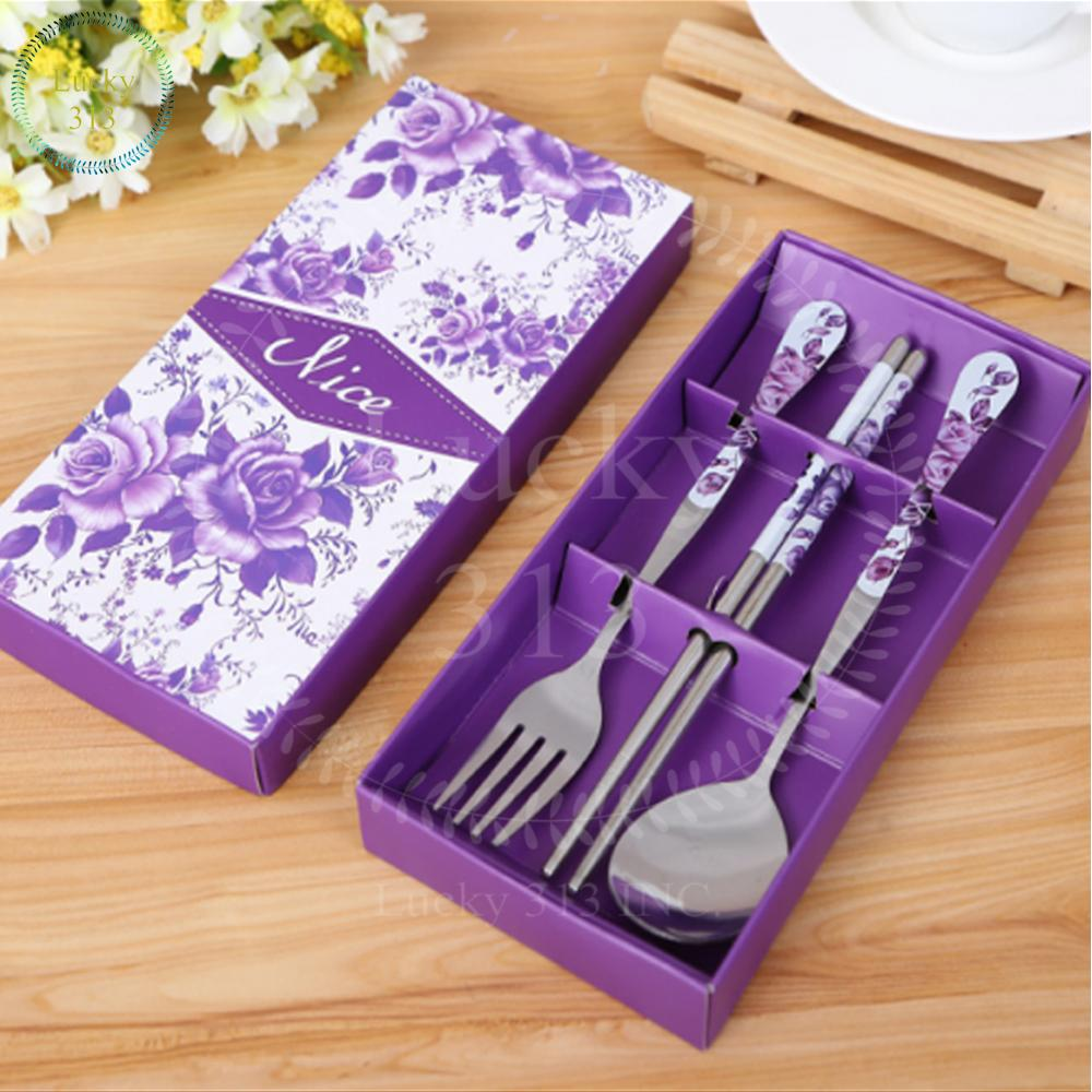 3pcs Set Spoon, Fork And Chopstick By Lucky313.