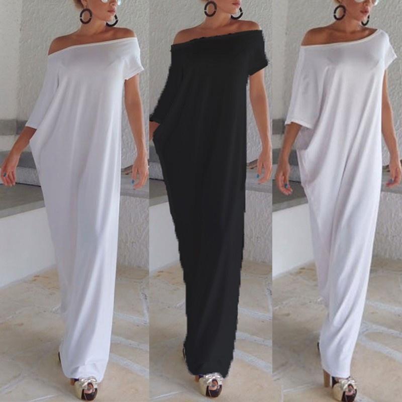 acb476d4ae Product details of ZANZEA Plus S-3XL Women Boho Beach Short Sleeve Evening  Party Long Maxi Sundress Dress Black - intl