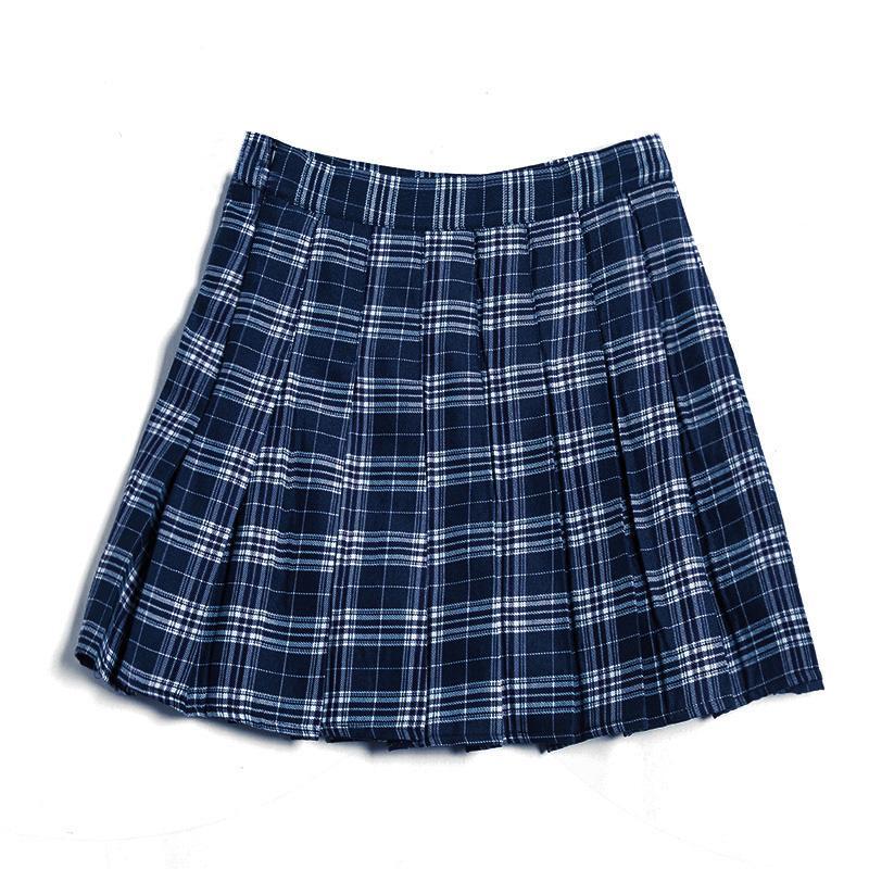 6b335ed8c8a2 2019 New Style Plaid Pleated Half-length Short Skirt a Word High-waisted  women