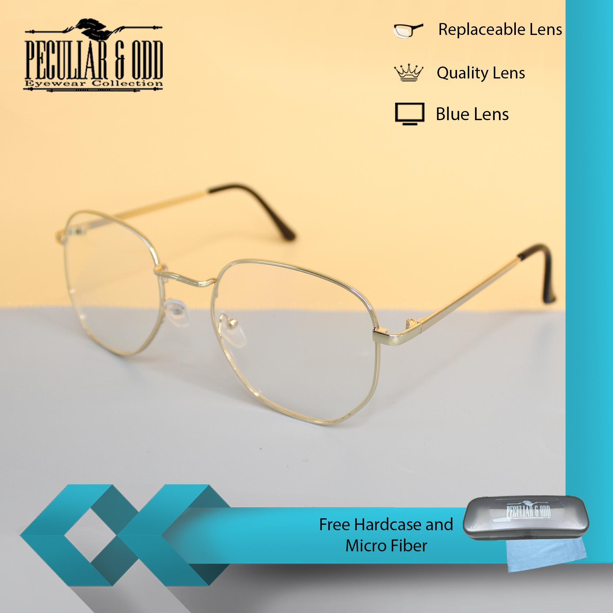 90bf9fdbe01 Peculiar Square 3449 GoldClear Anti Radiation Clear Blue Lens Computer  Eyeglass in Gold Metal Frame with Optical