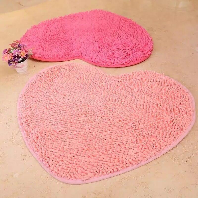 Fluffy Bedroom Rug Carpet Heart Bath Mat Chinelle Doormat