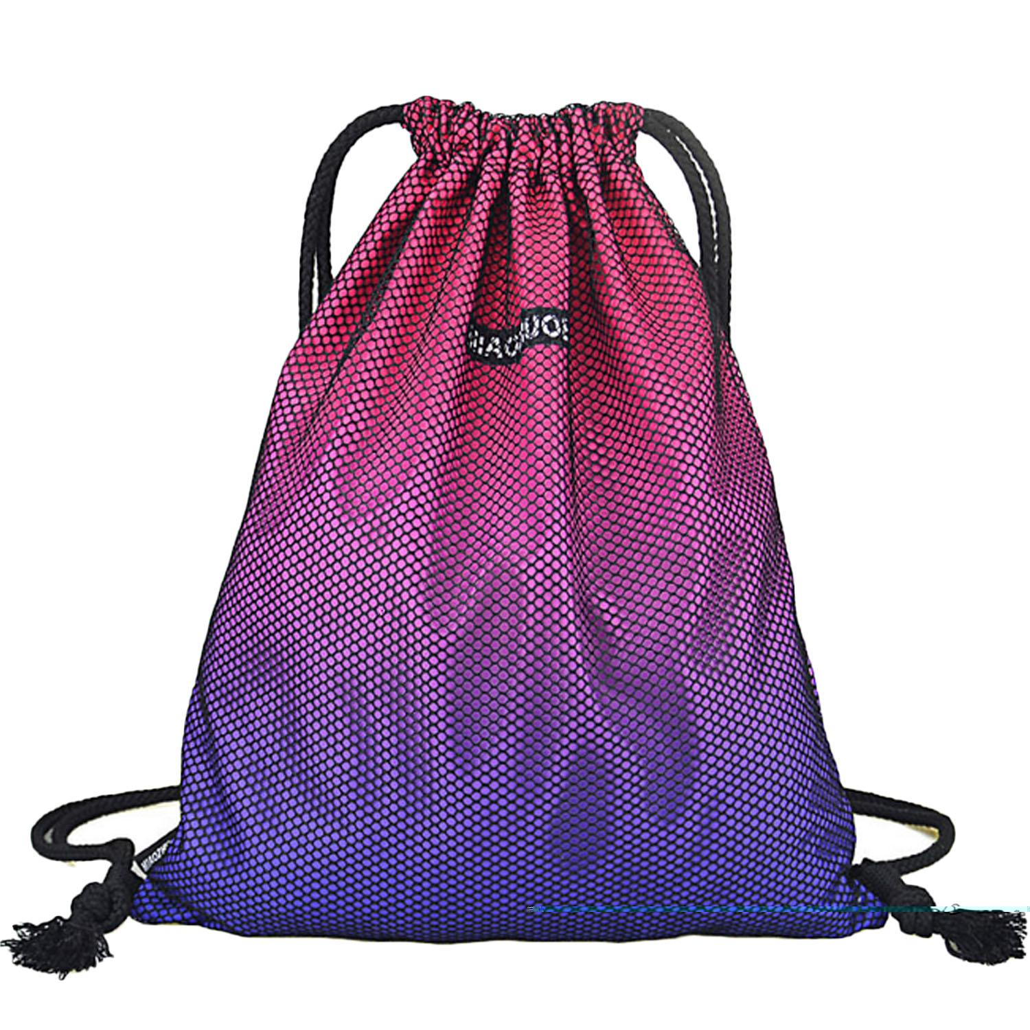 d3c2be2cc5c9 Portable Polyester Drawstring Bag Leisure Travel Sports Gym Lightweight String  Backpack Rose Red - intl