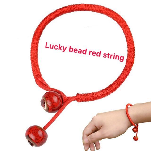 Lucky Bead Red String Ceramic Bracelet