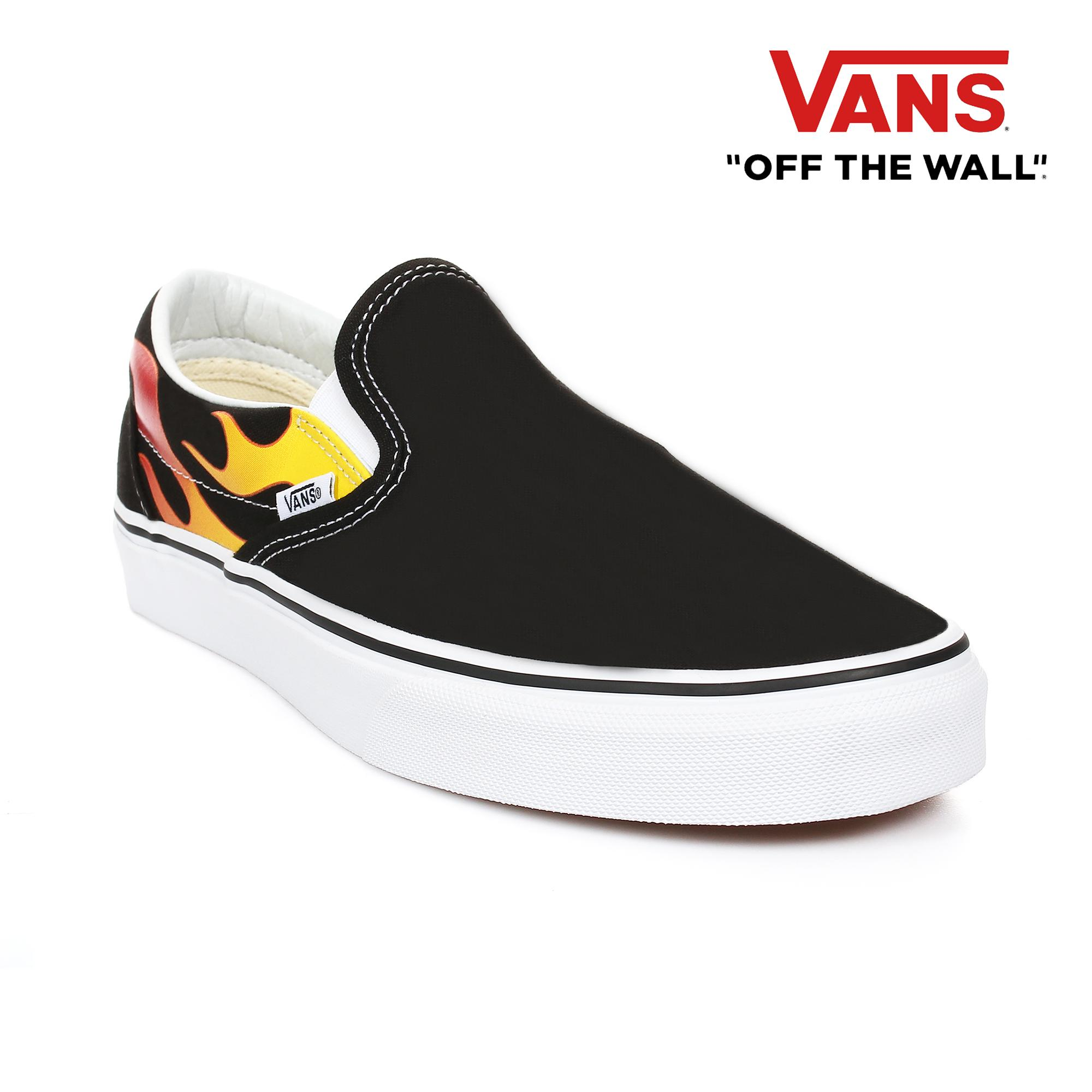 1c4414b86b1b77 Vans Men s Classic Slip-On Flame Sneakers (Black   Black  True White)