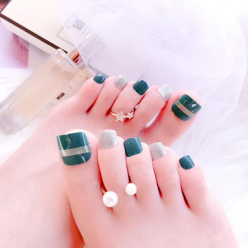 O-New 24pcs Green Grey Foot False Nails Fake Nail Tips Philippines