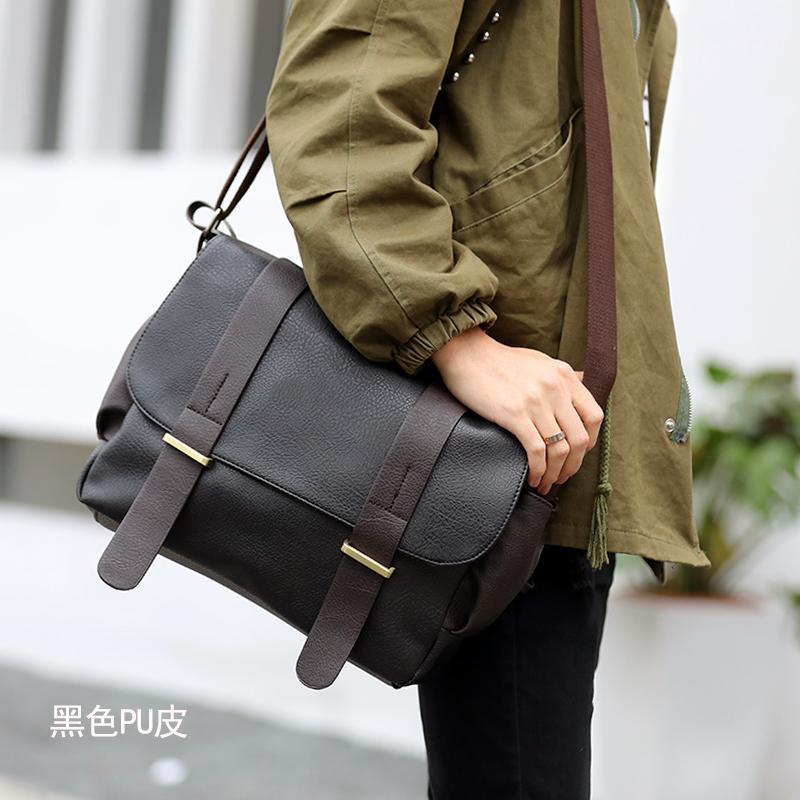 6aa1f76413 Men s Korean-style casual canvas shoulder bag (Black leather version)  (Black leather
