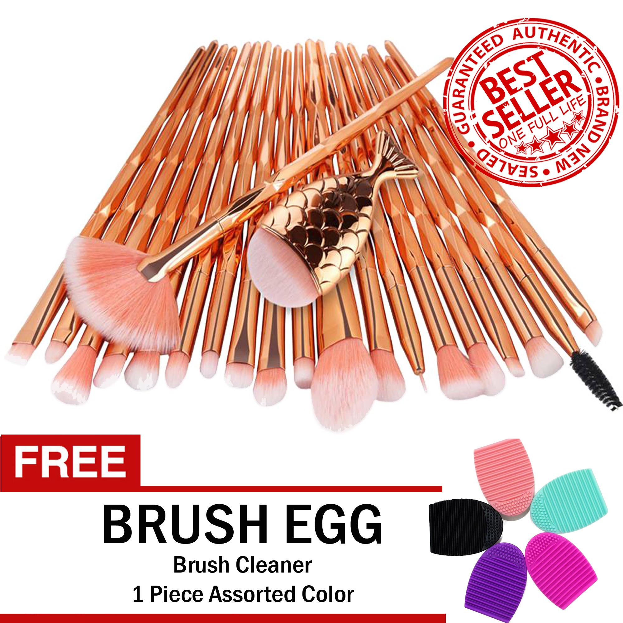 Unicorn Makeup Brush Set 21-Piece ROSE GOLD with with FREE Brush Egg Brush Cleaner Philippines