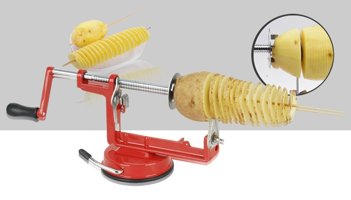 0669f6124a8 Specifications of Potato machine stainless steel multi - function slicer  manual rotation potato chips cut potato tower spiral string cutting machine