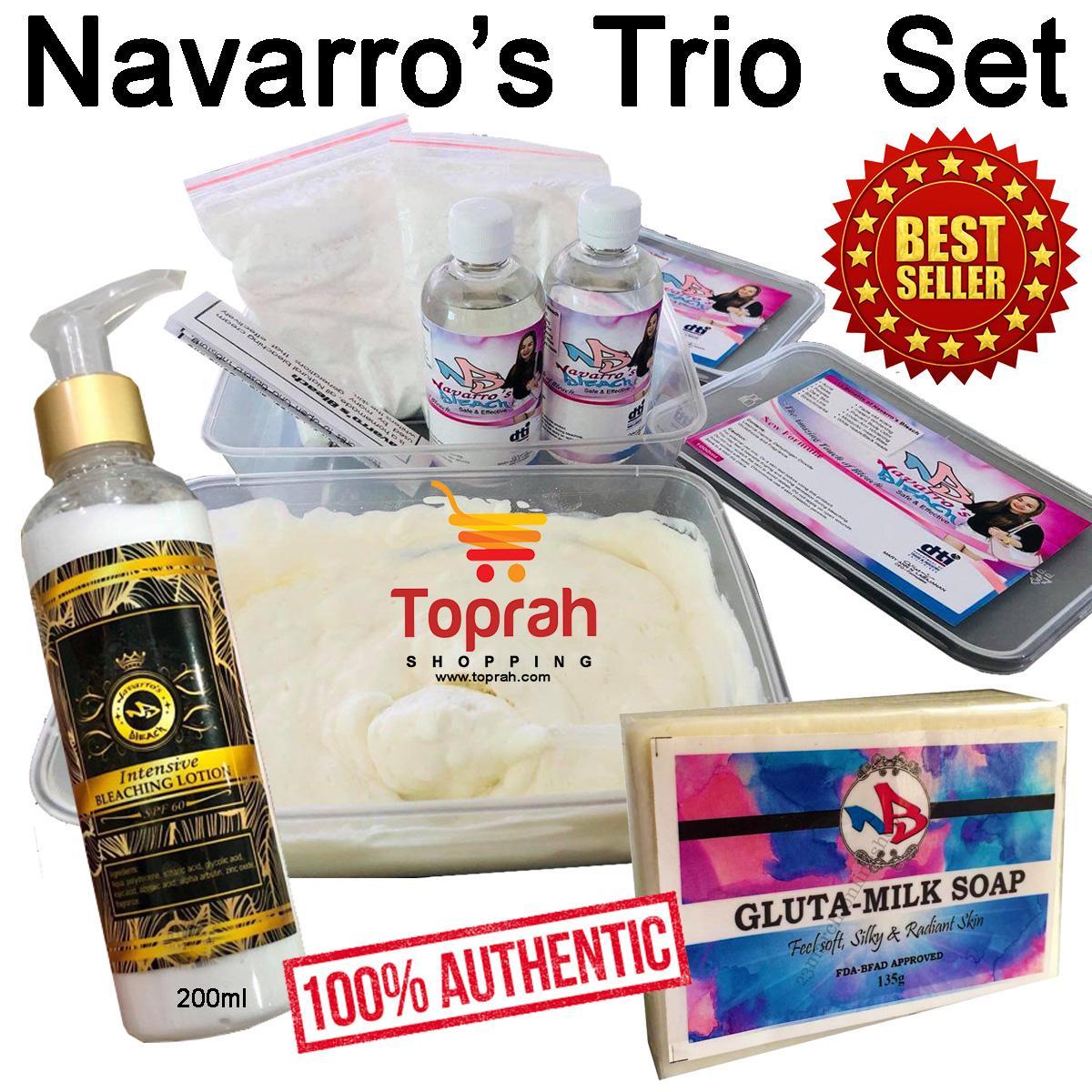 Navarro Bleach Trio Set Gluta Milk Soap 200ml Intensive Bleaching Lotion Bleach Set