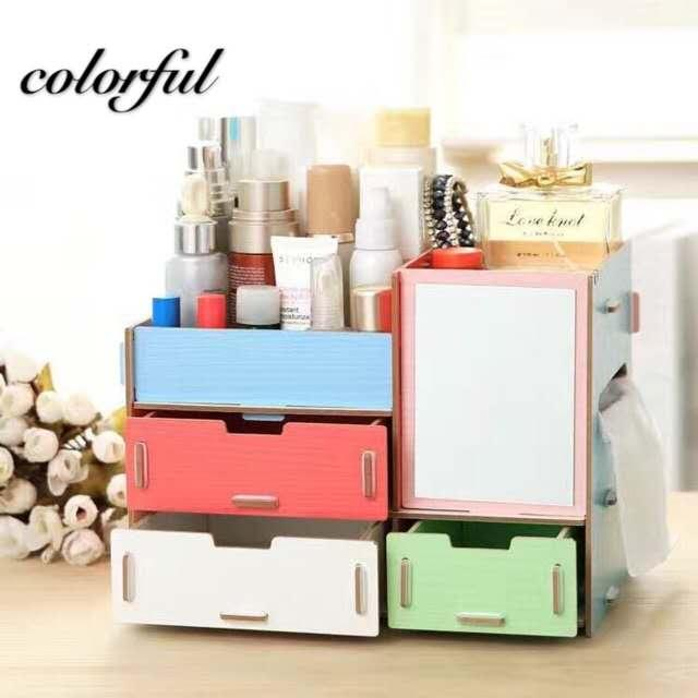 DIY Wooden Cosmetic Box Makeup Organizer With Mirror Philippines