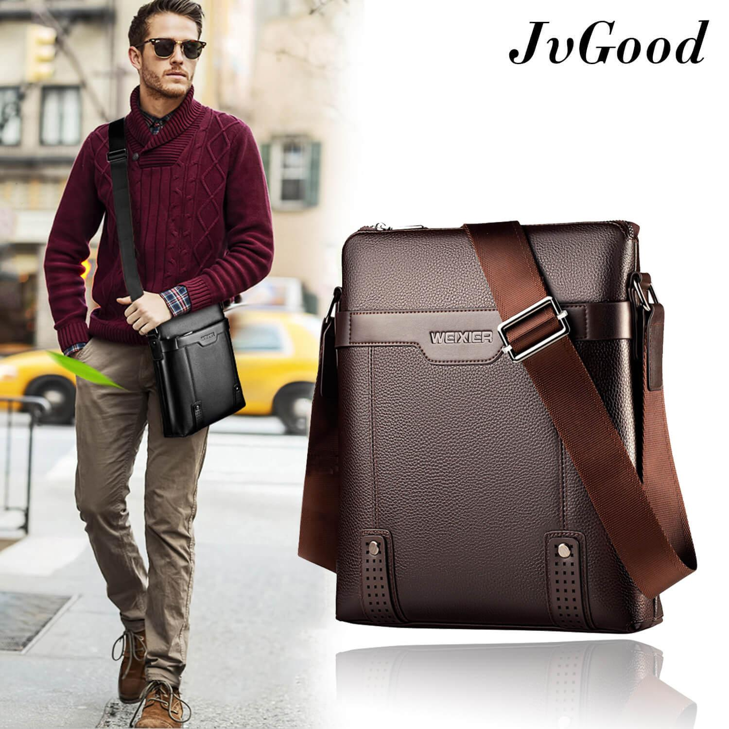 Jvgood Messenger Bags Pu Leather Men Bag Sling Shoulder Crossbody Casual Business Fashion