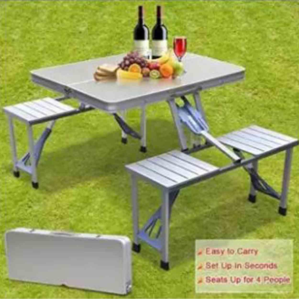 Fine Outdoor Aluminum Portable Folding Camp Suitcase Picnic Table With 4 Seats Silver Download Free Architecture Designs Scobabritishbridgeorg