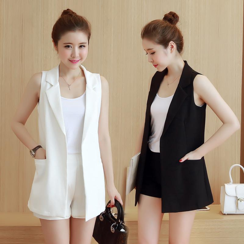 491f6e3c0ec Mid-length Black Waistcoats women Slimming Versatile Thin Suit Cardigan  Spring And Summer Autumn Korean