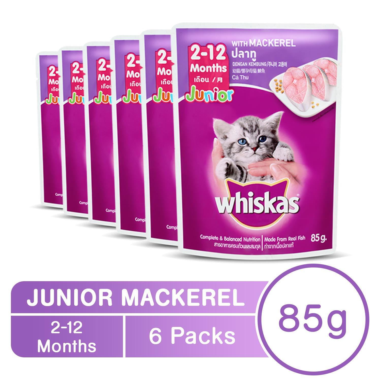 WHISKAS® Junior Mackerel Pouch Wet Cat Food Pack of 6 (85g)