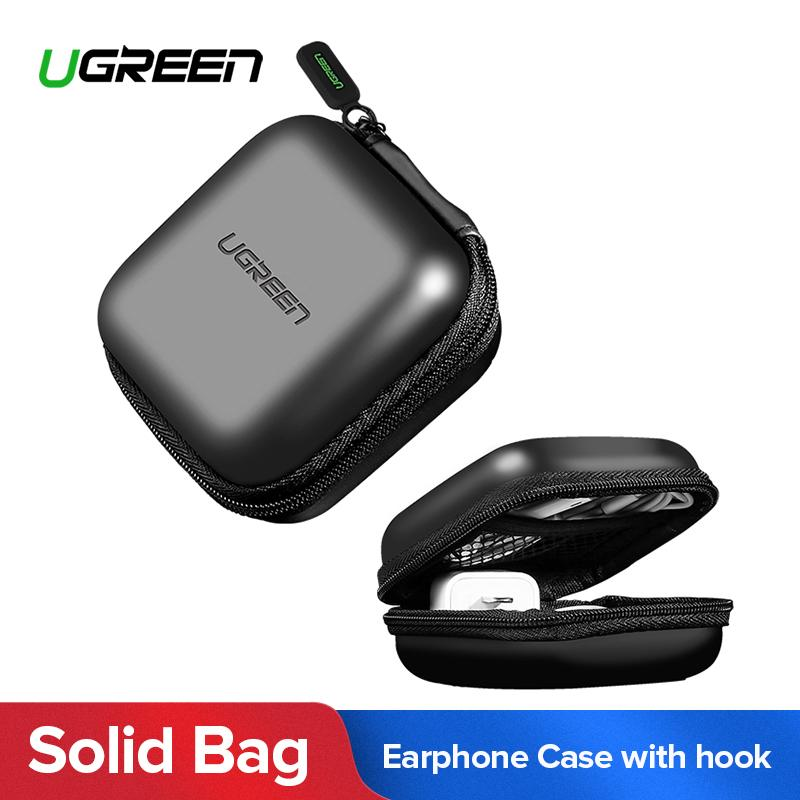 UGREEN Zipper Earphones Earbuds Carrying Bag Case Memory Card USB Cable Waterproof Organizer Box with Hook