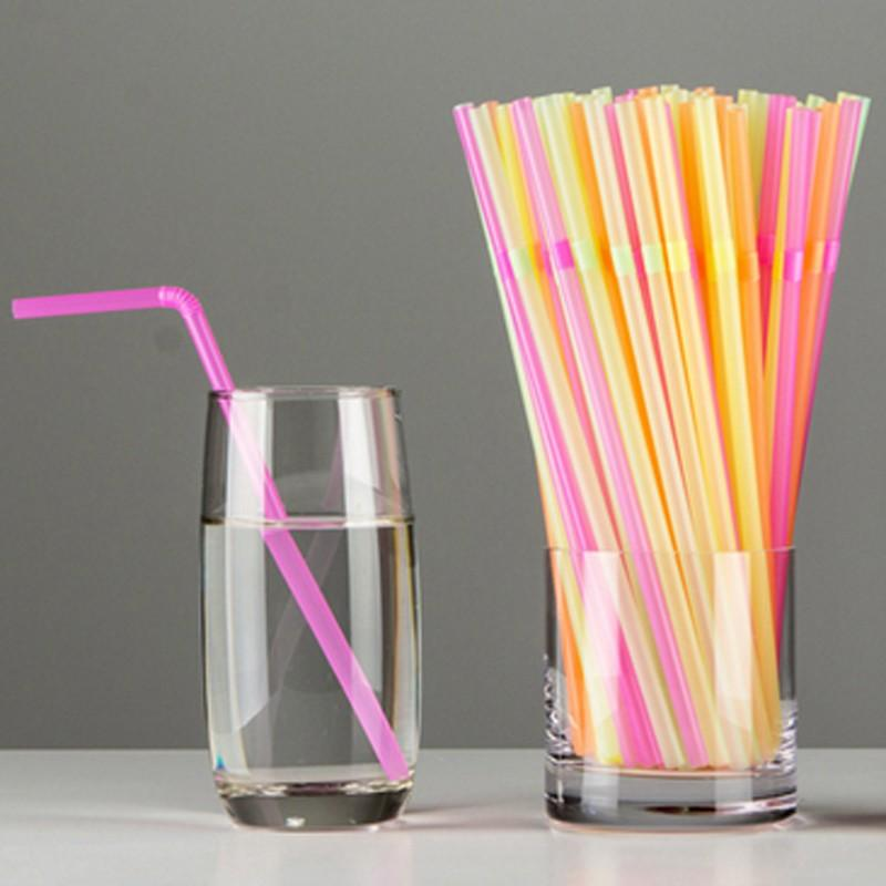 100 Pcs  23cm Multicolor Straw Long Bendy Drinking Colored Plastic Straws  For Home Bar Party Cocktail Drinks 40g