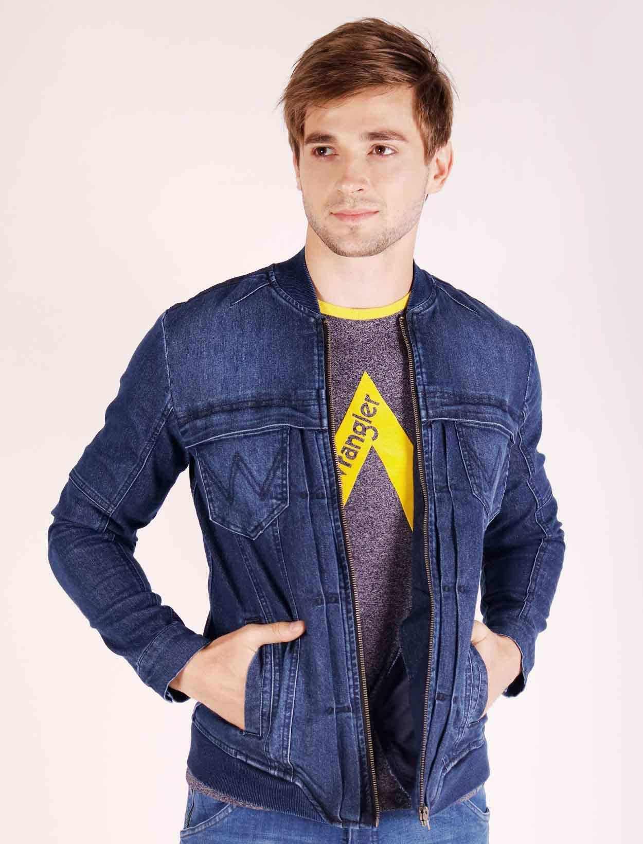 a41189162202f Wrangler Denim Bomber Jacket with 4 Pockets and Cool and Dry Performance in  Blue
