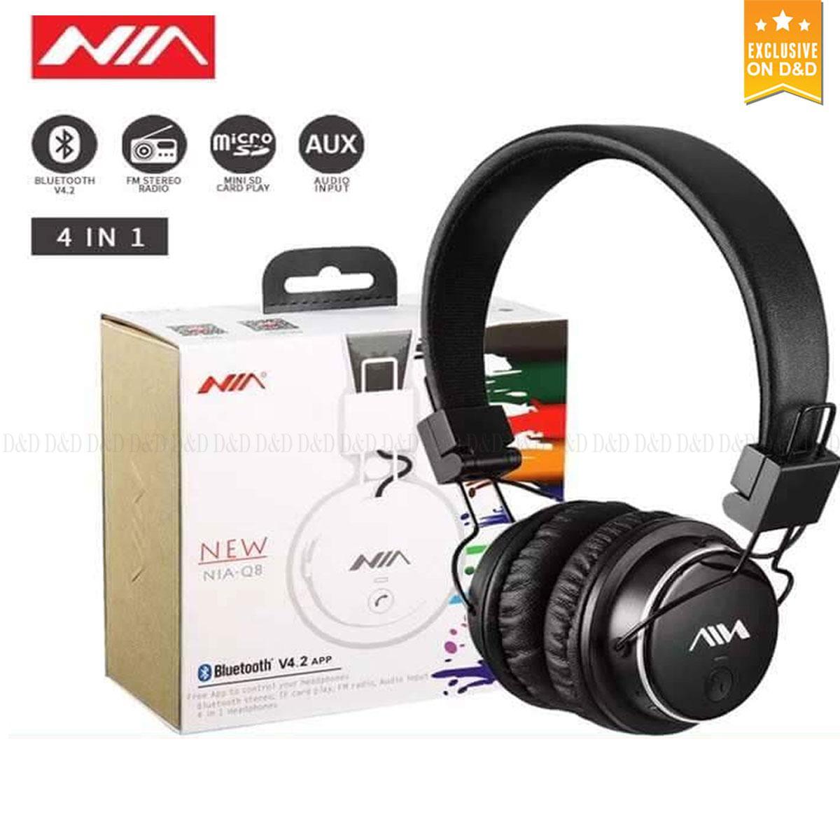 d2e4ff6a16e NIA Original Q8 Bluetooth Stereo Wireless Headphones Foldable Earphones  with Microphone Support TF Card FM Radio