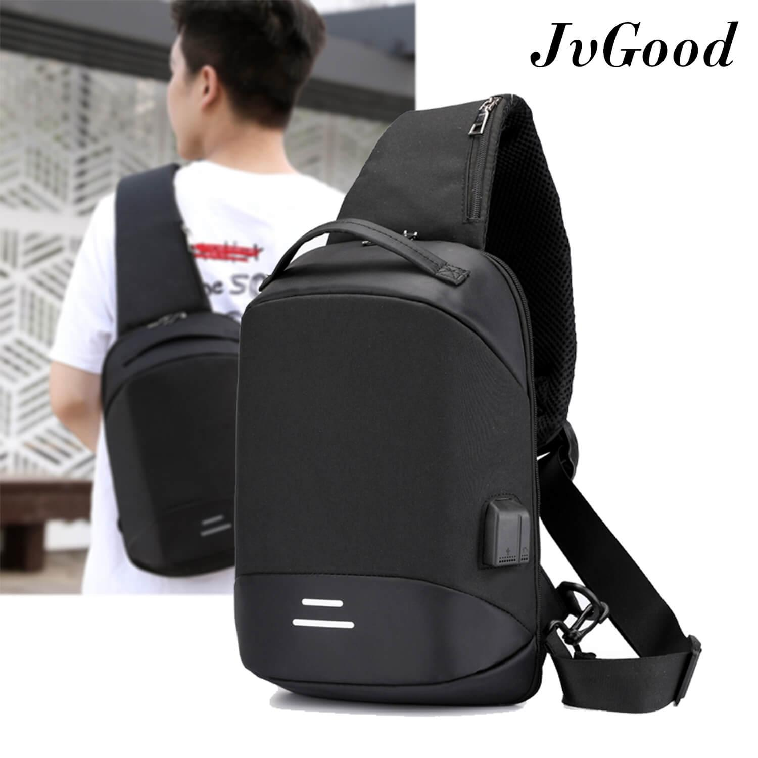 8a739c11da0d JvGood Crossbody Bag Anti Theft Chest Bag USB Charging Sling bag  Lightweight Daypack Casual Backpack Canvas