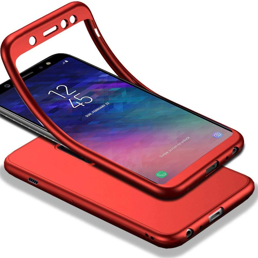 Galaxy A6 2018 Case, RUILEAN 360° Full Body Case [with Tempered Glass Screen