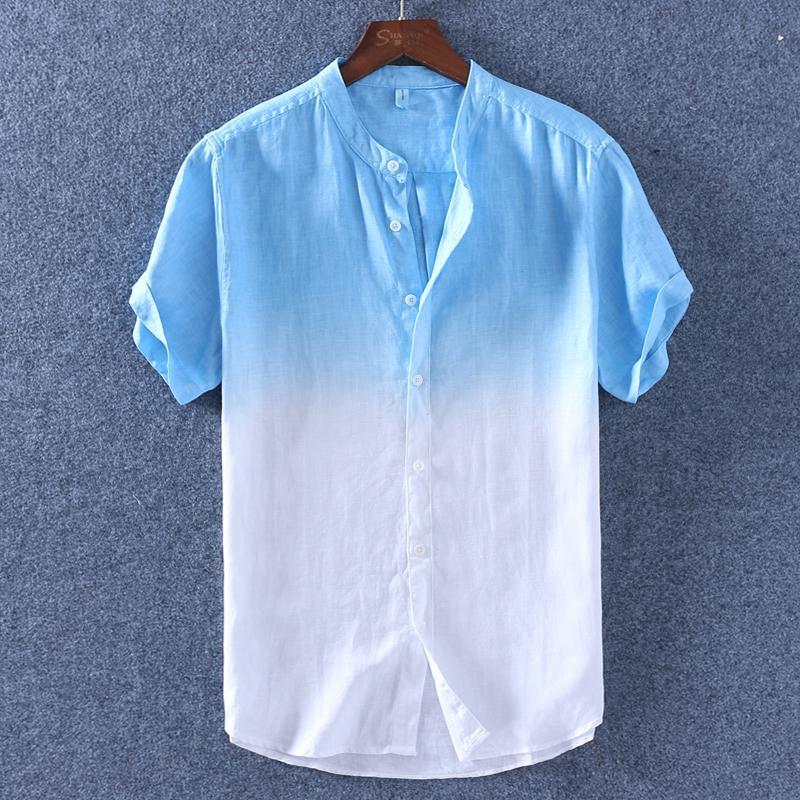 8e6bce5af93 Hawaii Gradient Color Stand Collar Short Sleeve Linen Shirt man Summer Thin  Hong Kong Style Loose