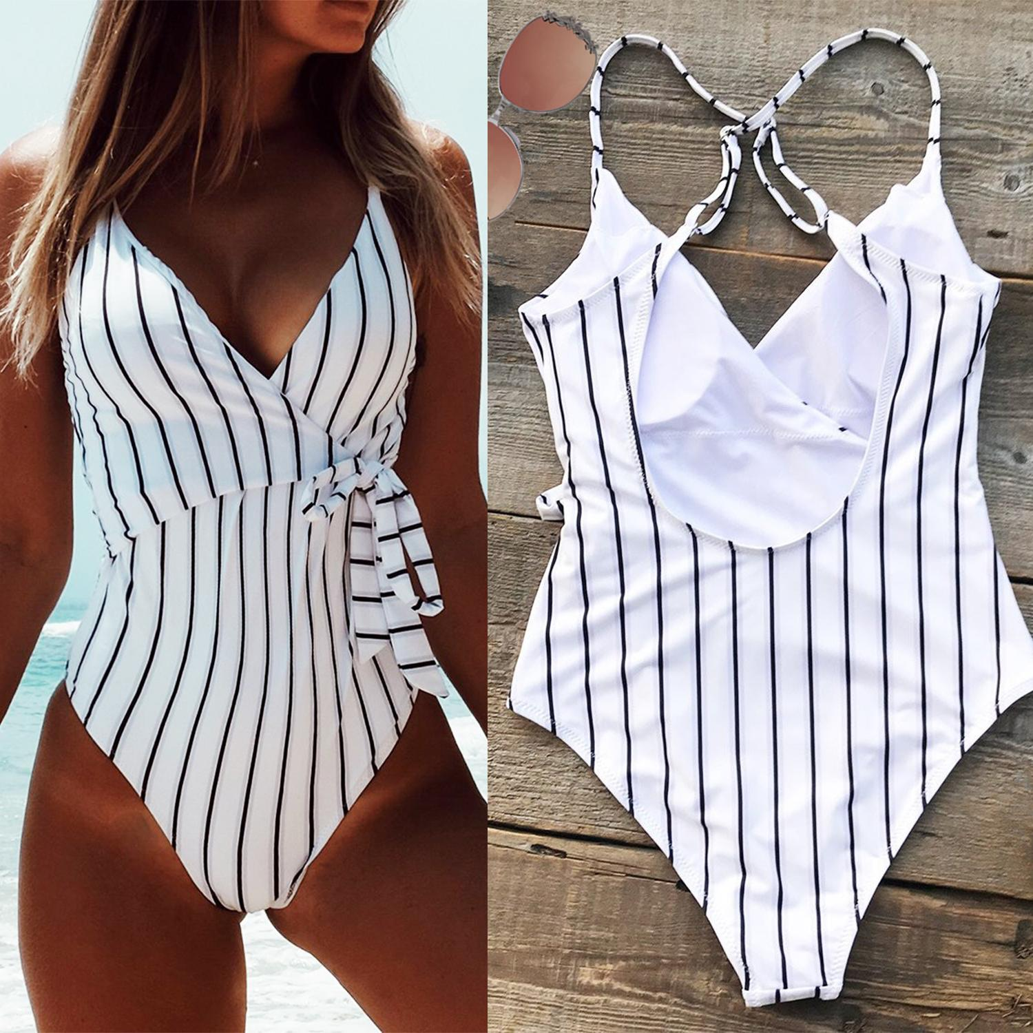 ff8b25f92e4 Stay Young Stripe One Piece Swimsuit Wrap Around Vertical Stripe One Piece  Swimsuit Classy Monokini Tie