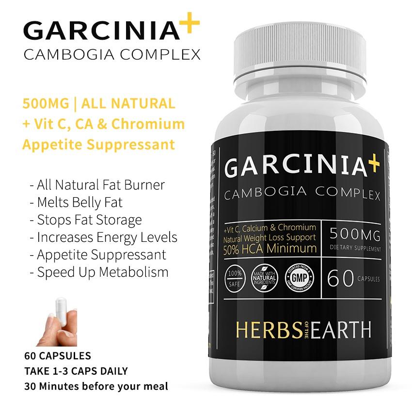 Garcinia Cambogia Pure 50 Hca Vit C Calcium Chromium All Natural Weight Loss Fat Burner Clinically Proven