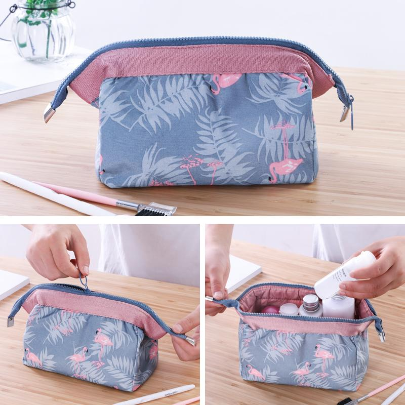81333f9c6233 AMOG Flamingo Cosmetic Bag Women Necessaire Travel Cosmetic Pouch Make up  Bag Toiletry Bag