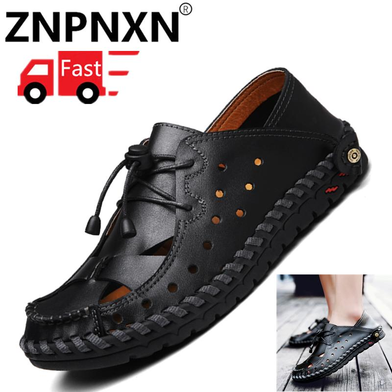 1ca98ce09964 ZNPNXN Men Sandals Genuine Leather Casual Summer Shoes Male Slippers Soft  Bottom Sandals For Man-