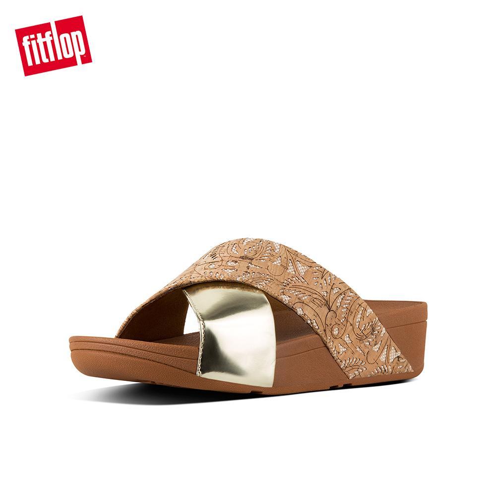5e45cc087f35 FitFlop Women s Sandals K56 LULU CROSS SLIDE SANDALS - MIRROR   CORK  Leather DRESS lightweight comfort