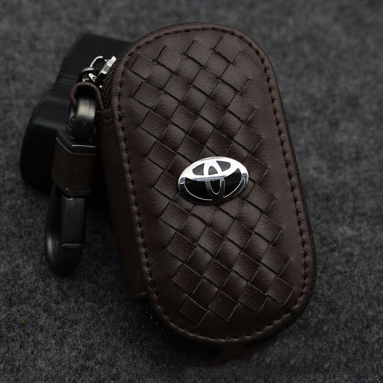 Leather Women & Men Car Key Cover Bag Keychain Key Case For Toyota - intl