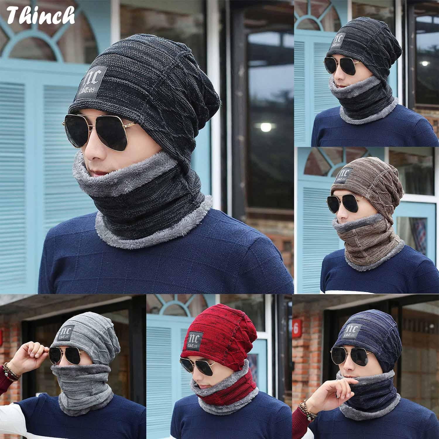 dad6749a6 2pcs Unisex Windproof Winter Warm Wool Knit Beanie Cap Hat Neck Warmer  Scarf Set with Thick Warm Fleece Lined for Men Women