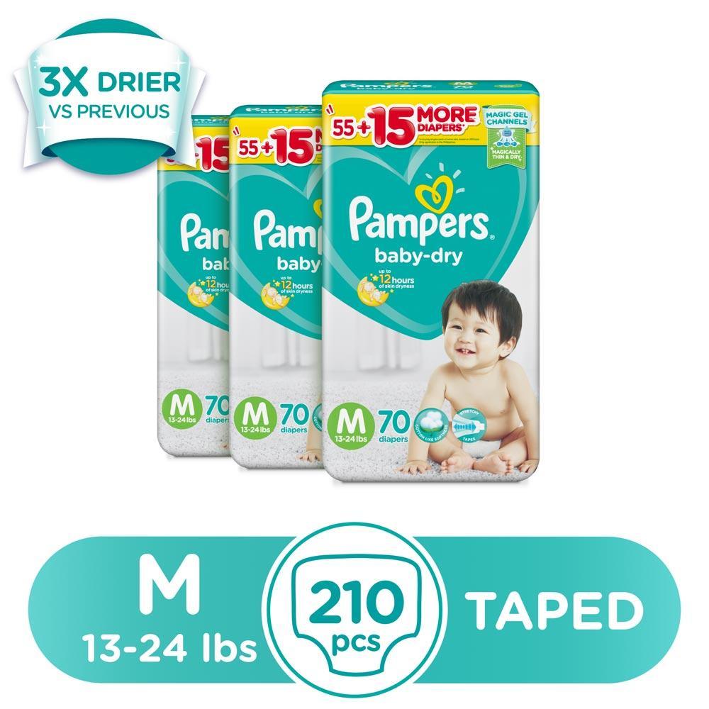 Pampers Baby Dry Medium 13 24 Lbs 70 Pcs X 3 Pack