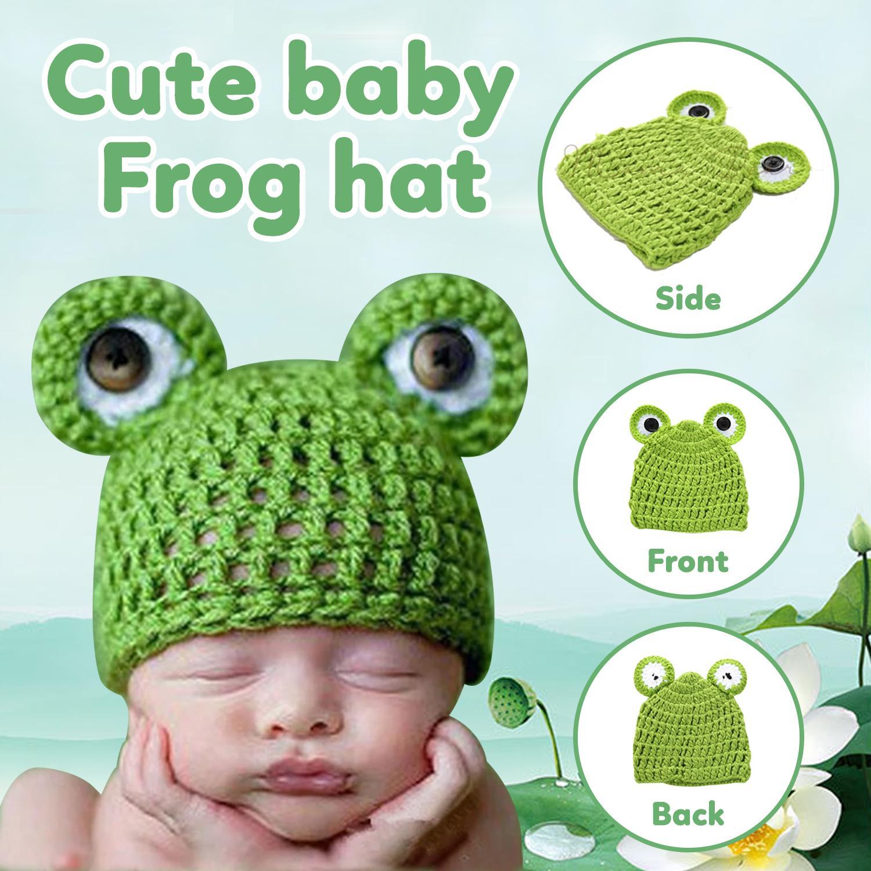 0113935b273 Baby Crochet Bonnet Hats Infant Newborn Photography Props Cartoon Frog  Photography Baby Crochet Accessories Handmade Knitted