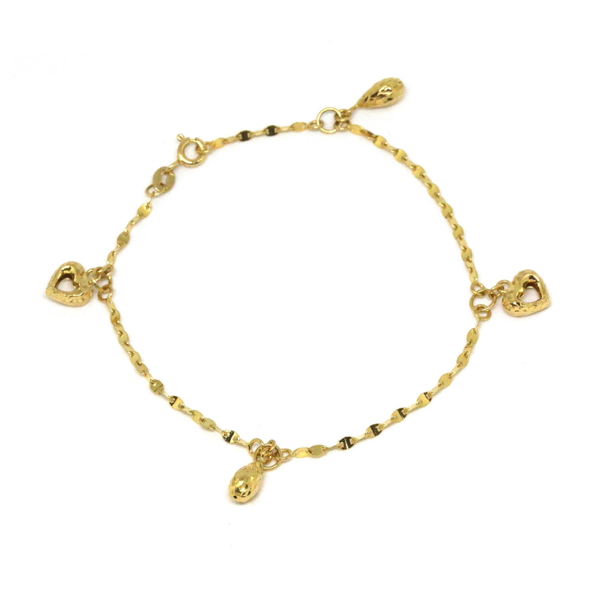 anklet for gold inch women yellow girls heart and pin bracelet womens