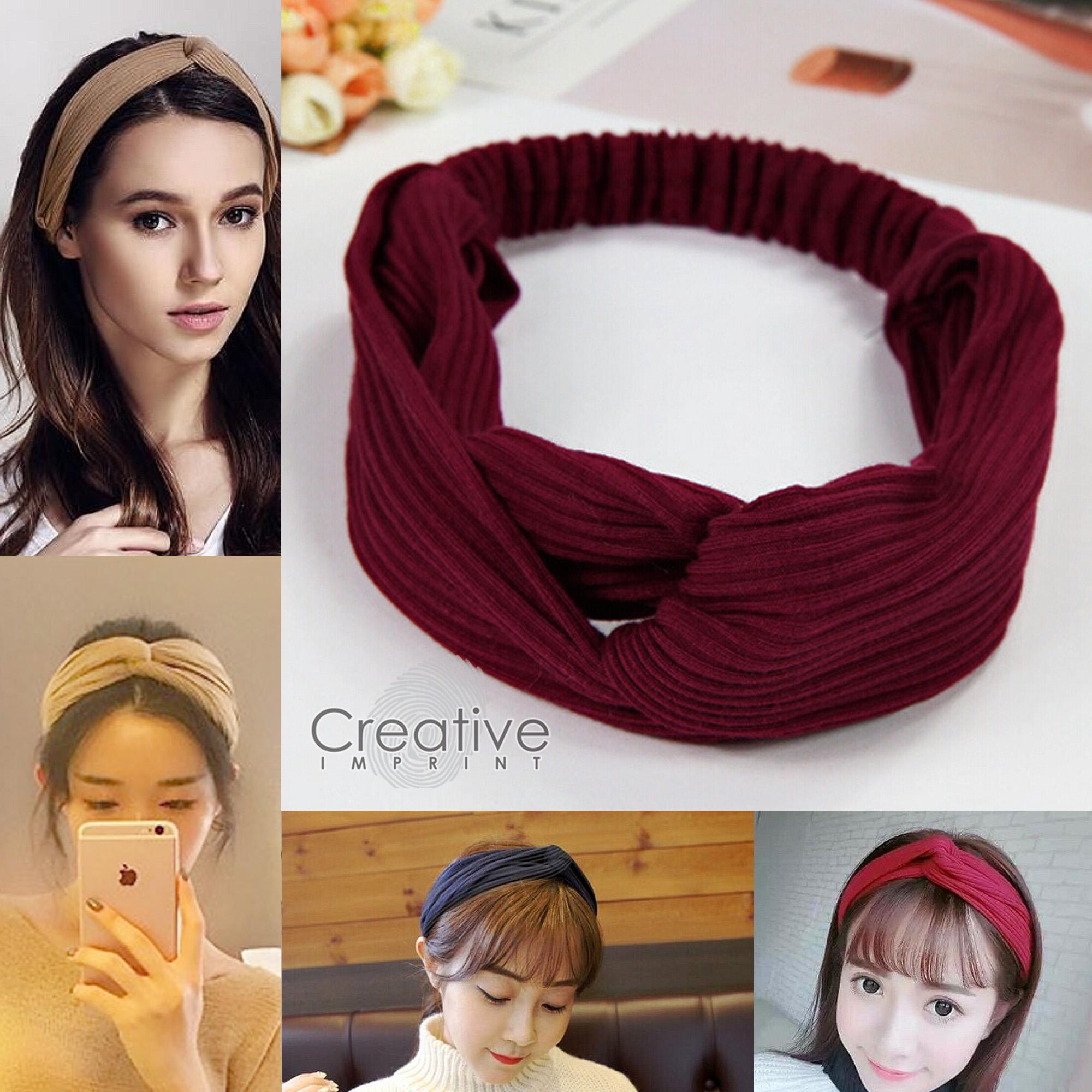 ef0d2f32bcb Creative Imprint Korean Hair Turban Headband Hairband Elastic Knot Style  Head Wrap Stretchable Garterized Cute -