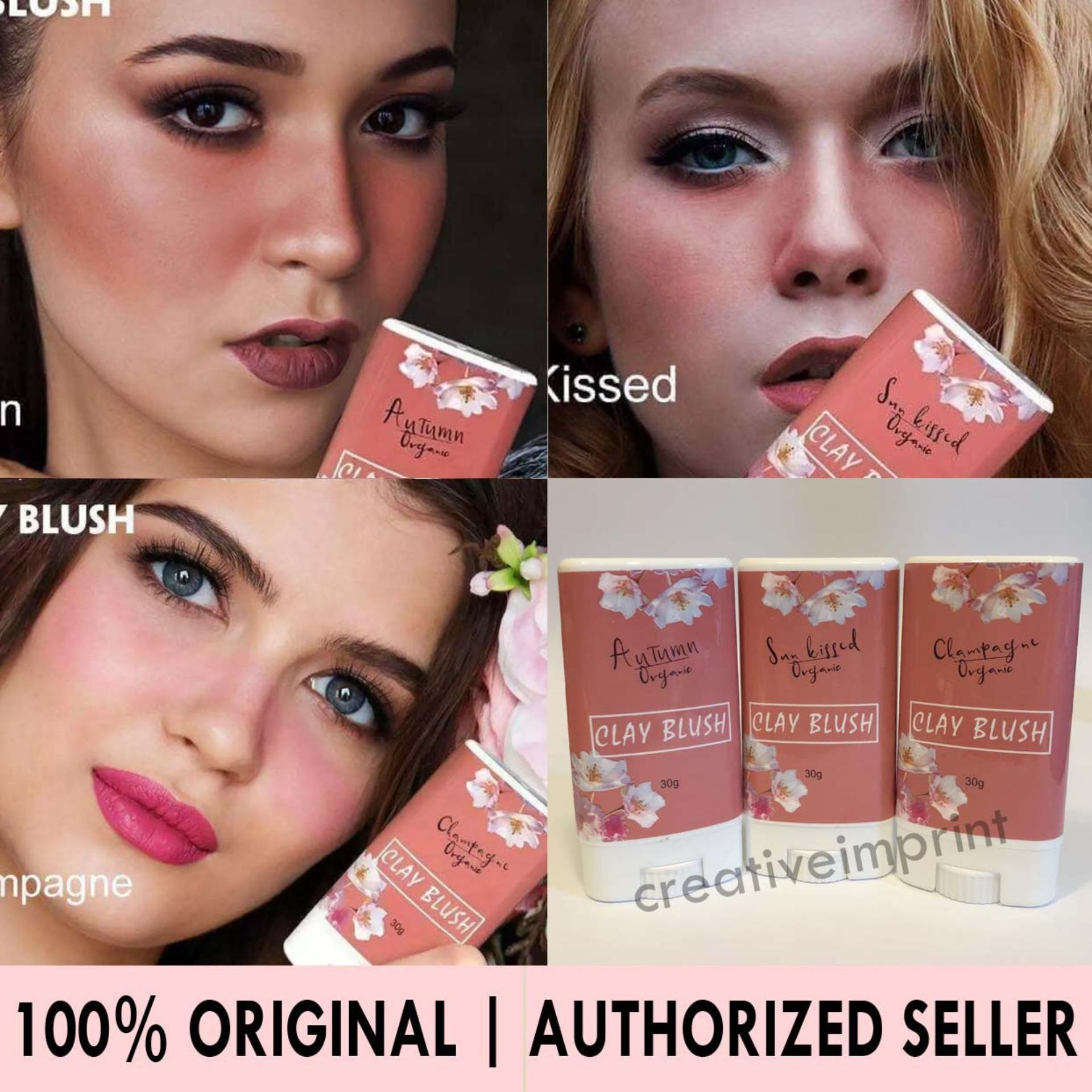 Authentic Clay Blush Organics 100% Original Fda Approved Vegan Korean Make Up Dewy Look Highly Pigmented 30grams By Creative Imprint.