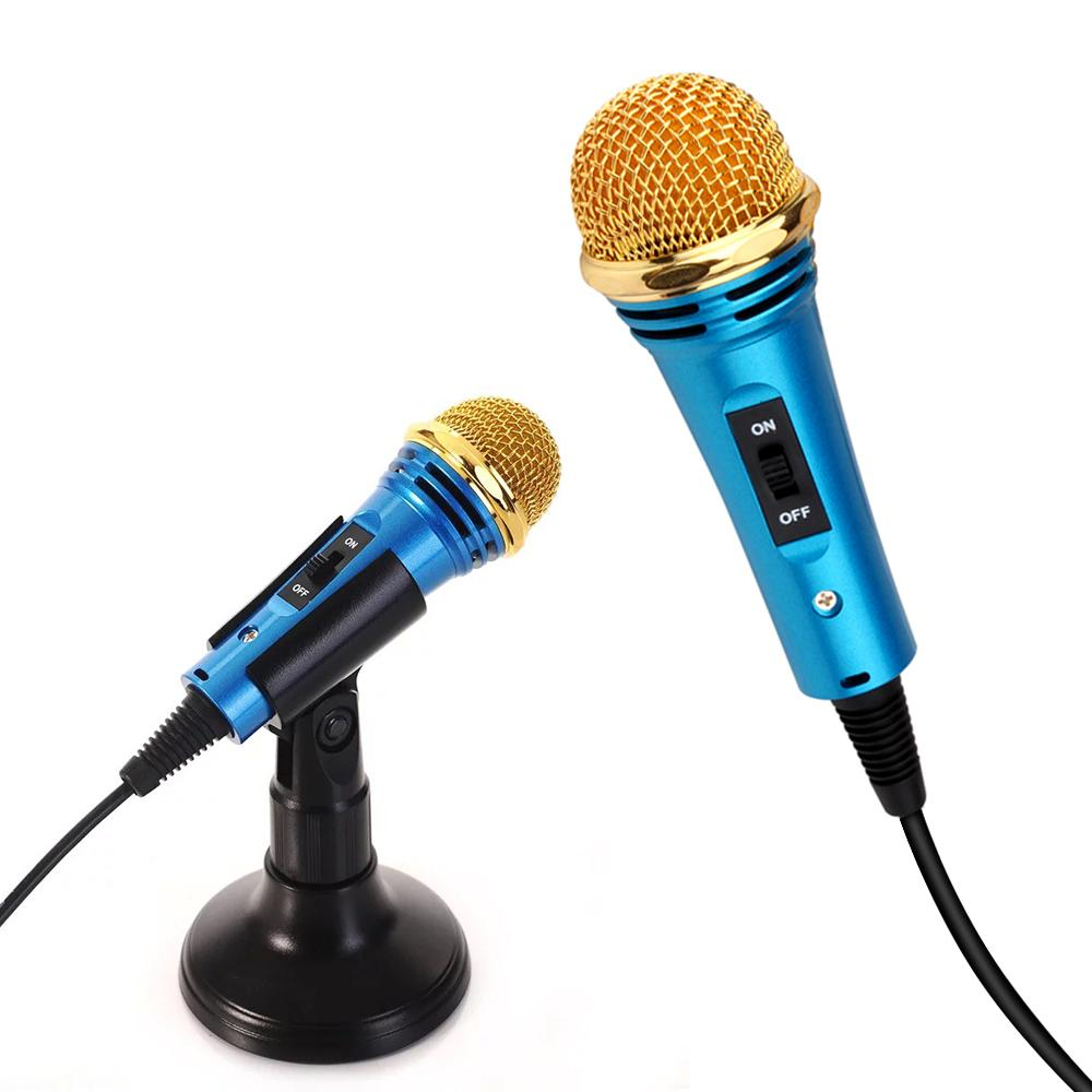 LHR Portable 3.5mm Stereo Status Mic KTV Karaoke Mini Microphone for Cellphone Laptop PC Desktop