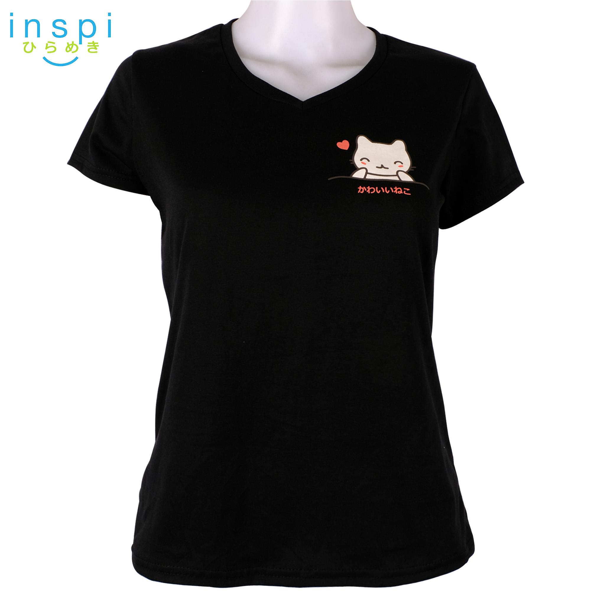 64d0951a76 INSPI Tees Ladies Semi Fit Cat in a Pocket (Black) tshirt printed graphic  tee