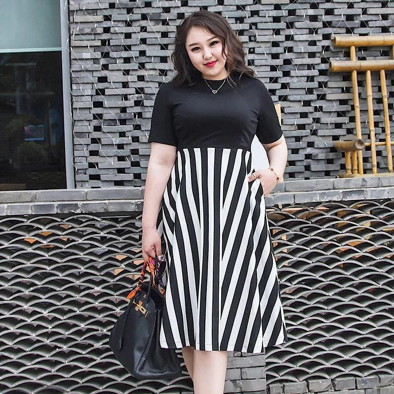 A977 Stripe Combined Plus Size Dress
