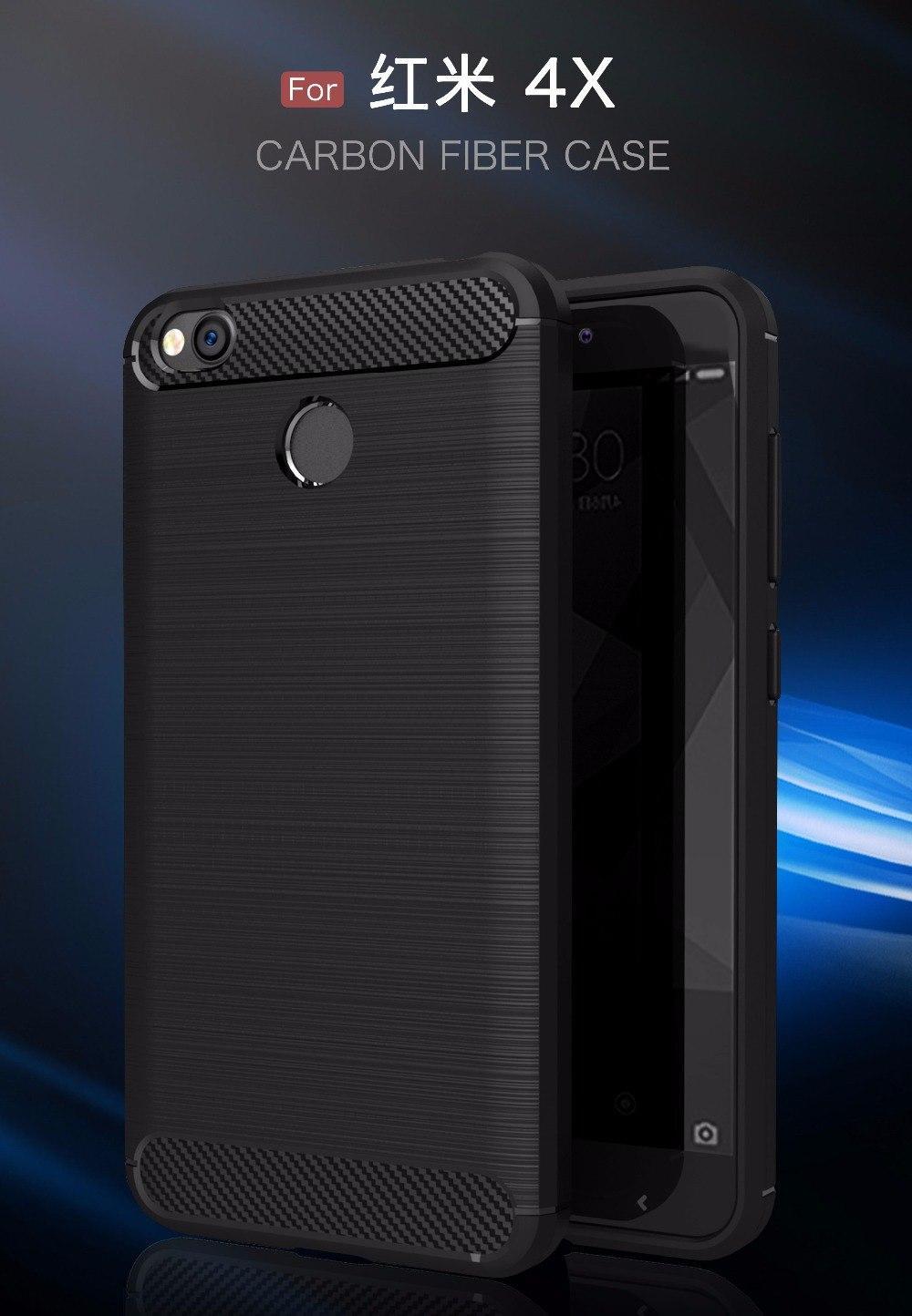 Xiaomi Redmi 4X Case Carbon Fiber Brushed Soft TPU