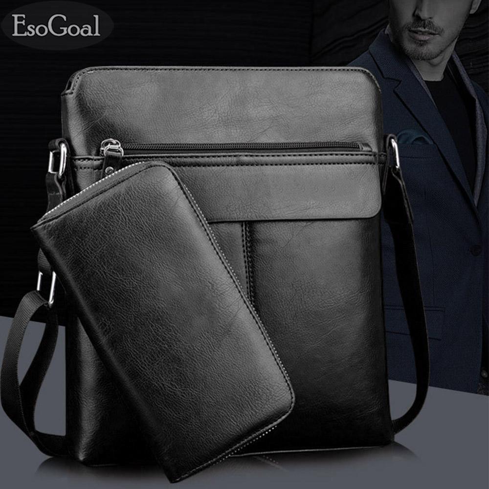EsoGoal Men's Shoulder Bag Vintage Leather Briefcase Messenger Bags Business Handbags with Wallet - intl