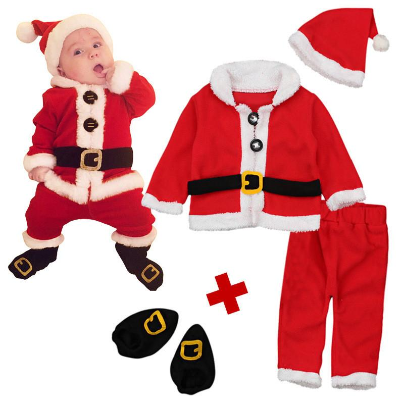 4 Pcs Baby Christmas Costume Christmas Kids Christmas Costumes Santa Claus Dress Up Cosplay for Children