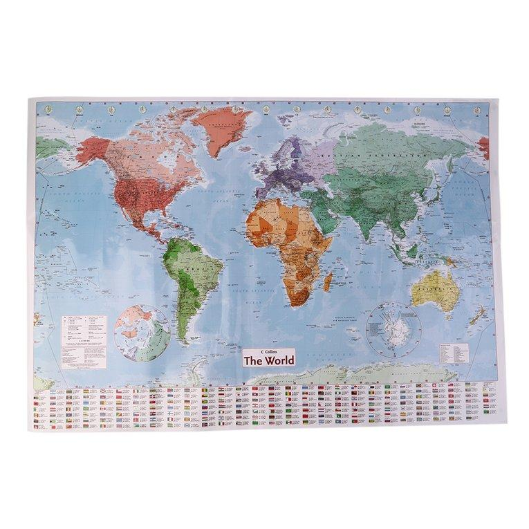 Multicolor 97.5 X 67.5 Large World Map English French Wall Chart Teaching Poster