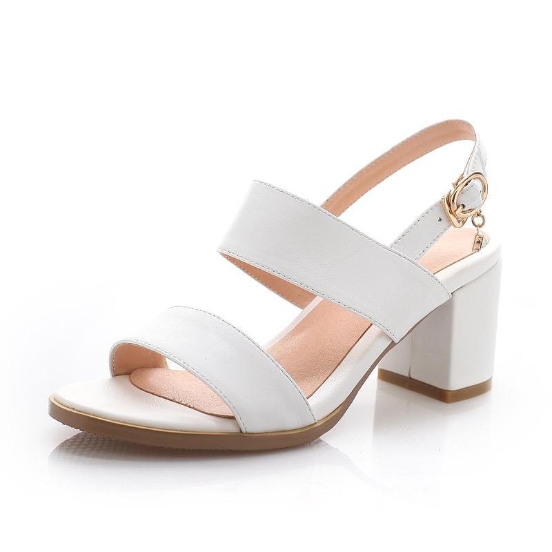 6fb626f75ac Summer New Style Semi-high Heeled Block Heel A-line Belted White women  Sandals