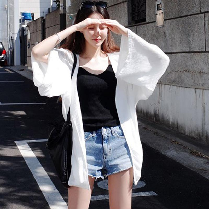 b3f53c93cee5 Chiffon Sun Protection Clothing women Mid-length Summer Korean Style  Students Loose Bf2018 Summer New