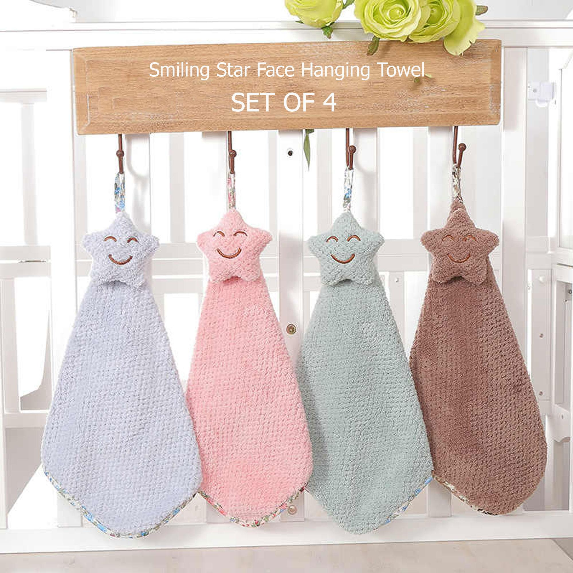 Smiling Star Face Hanging Quick Drying Soft Wipe Hand Towel Set Of 4 Color May Vary Hanabishi Electric Fan Wiring Diagram 220v