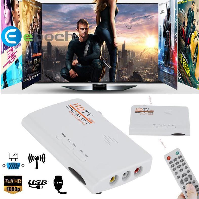 1080P DVB-T T2 TV Box HDMI AV Audio HDTV Receiver w/Remote Control
